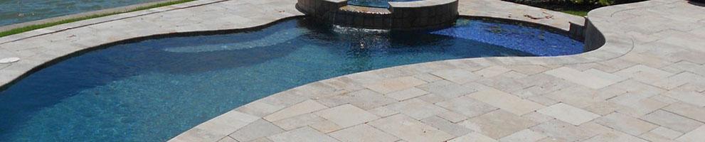paver pool decks, travertine pavers, traditional brick pavers